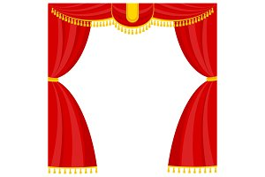 Curtains with lambrequins on the stage