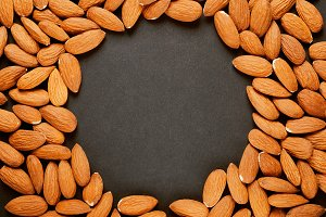 Frame of nuts, almonds.