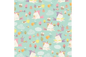 Vector cartoon seamless pattern unicorn with cake and coffee