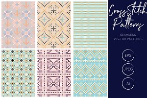 Pastel Cross Stitch Seamless Pattern