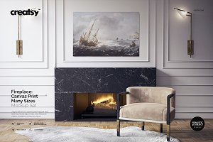 Fireplace Canvas Print Mockup