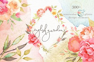 English Garden Watercolor Bundle
