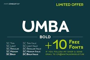 UMBA Bold + 10 Fonts Giveaway