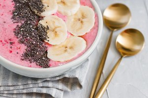 Top view of summer smoothie bowls