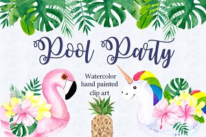 Pool party. Watercolor clipart