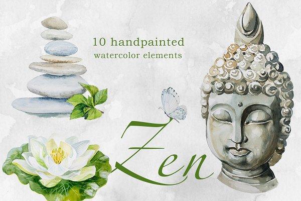 Watercolor Zen Clipart Set