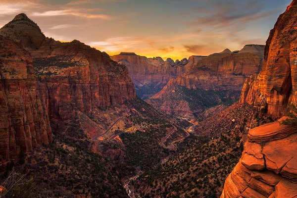 Nature Stock Photos: Nick Fox  - Sunset over Zion National Park, Utah