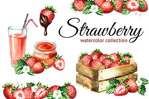 Strawberry. Watercolor collection