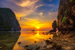 Sunset at the Maya beach on Koh Phi Phi island in Thailand