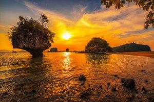 Sunset over Laopilae archipelago around Ko Hong island in Thailand