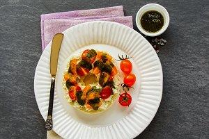 Ricotta, tomatoes, pesto sandwich