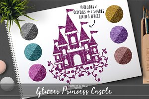 Glitter Princess Castle Clipart Set