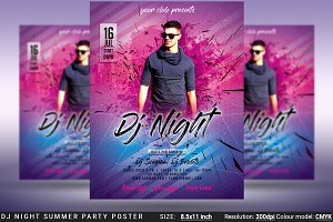 DJ Night Summer Party Flyer Poster
