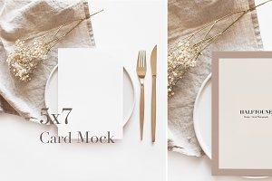 5x7 Mockup, Neutral Tones Paper Mock