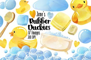 Watercolor Bath Time Clipart