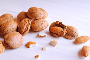 Almonds in shell and shelled front