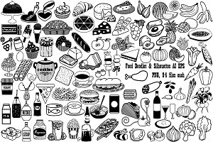 Food Doodles/Silhouettes AI EPS PNG