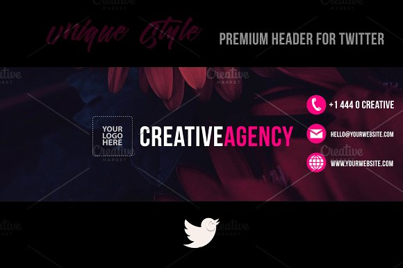 Creative Agency Twitter Header Psd Templates Market