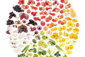 Circle made from fruits and vegetables, isolated