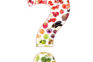 Question mark made from fruits and vegetables, isolated