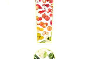 Exclamation mark made from fruits and vegetables, isolated