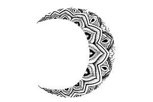 Mandala Crescent Moon Illustration