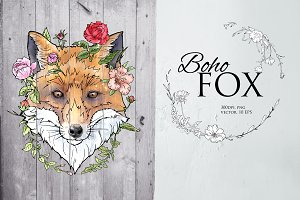 Fox illustration in boho style