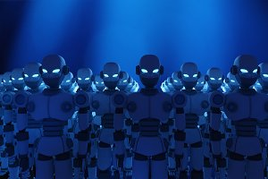Group of robots on blue background, artificial intelligence in futuristic technology concept, 3d illustration