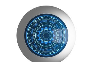 Electronic blue eye and HUD cyber security inside for technology concept, 3d illustration