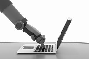 Robot using a computer isolated on white. Hand of artificial intelligence in futuristic technology concept, 3d illustration