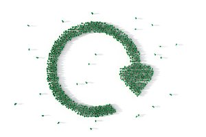 Large group of people forming a recycling symbol. Social media concept. 3d illustration