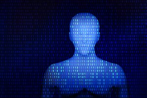 Human with 01 or binary data on the computer screen, artificial intelligence in futuristic technology concept, 3d illustration