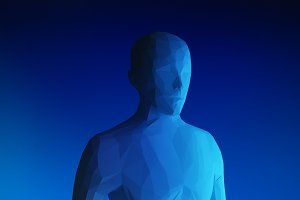 Human model on blue background in technology concept, artificial intelligence, 3d illustration