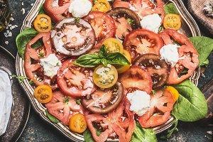 Tomatoes mozzarella salad