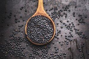 Spoon with black beluga lentil seeds