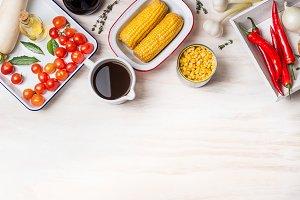 Vegetarian corn soup preparation