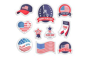 Happy Flag Day USA Day Set Vector Illustration