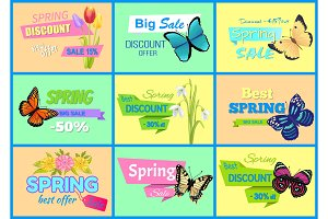 Spring Discount New Offer Vector Illustration