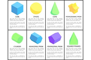 Cube and Sphere Posters Set Vector Illustration