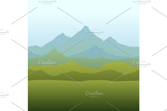 Seamless Horizon Border with Mountains