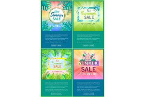 Hot Summer Sale Web Posters Set Up 70% Off Banner