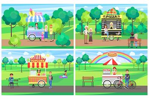 Ice Cream and Pizza Stand Vector Illustration