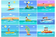 Surfing Summer Collection Vector Illustration