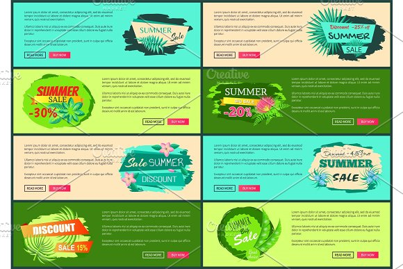 Tropical Banners Set with Push Buttons Promo Group in Illustrations