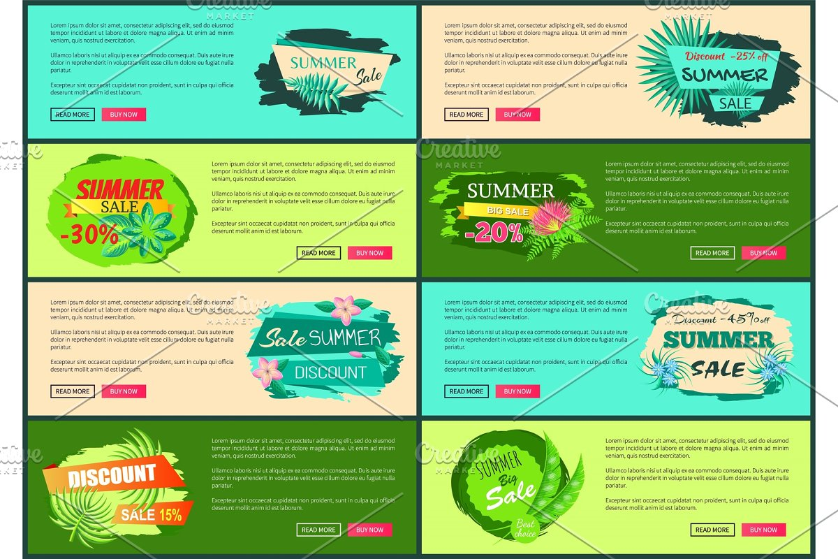 Tropical Banners Set with Push Buttons Promo Group in Illustrations - product preview 8