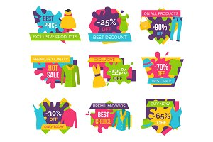 Set of Promo Badges Color Labels Exclusive Premium