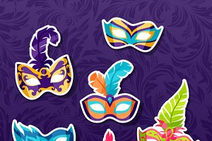 Carnival masks stickers.