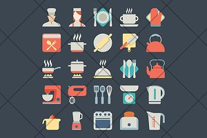 kitchen and cook icons
