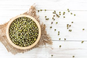 Mung bean on wooden background