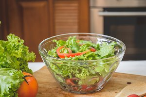 Salad fresh vegetable in kitchen